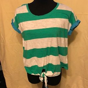 Spense Knits Striped Shirt Front Tie